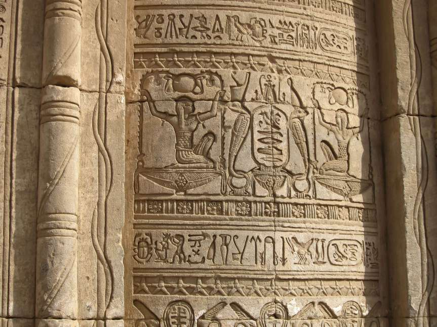 hieroglyphs at Denderah temple on a luxury small group tour