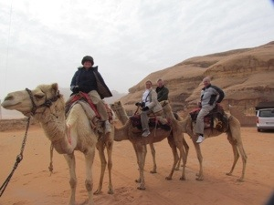 on camels at Wadi Rum