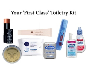 how to relax on a long haul flight in economy - toiletries