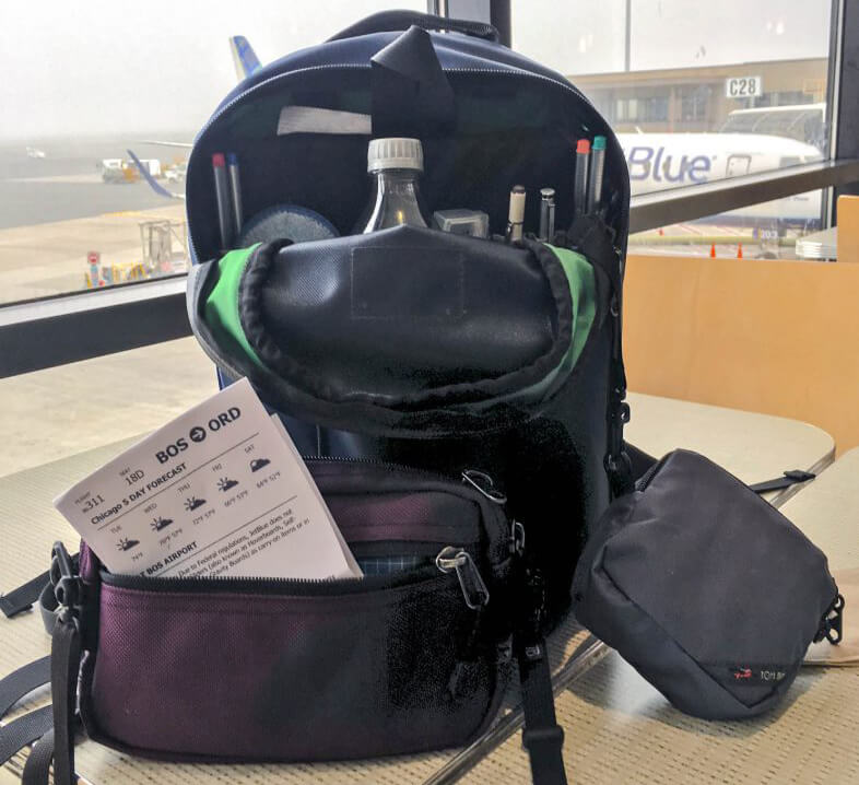 Choose an inflight bag that'll fit under the seat and will fit everything you need.