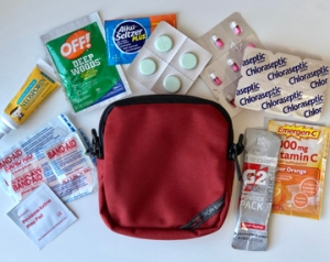 Sample first aid kit for travel. Stay healthy on the road