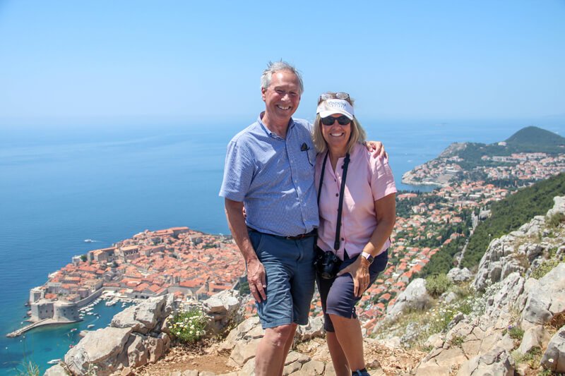 Dave and Amy on the road overlooking Dubrovnik.