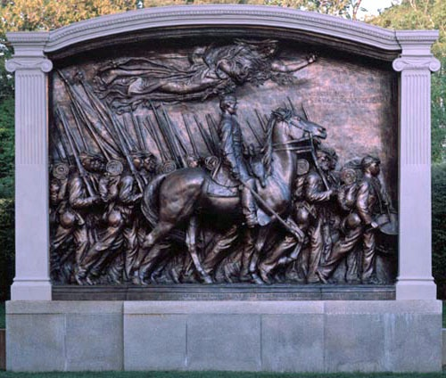 A walking tour of Boston including a stop at Robert Gould Shaw and the MA 54th Regiment memorial,