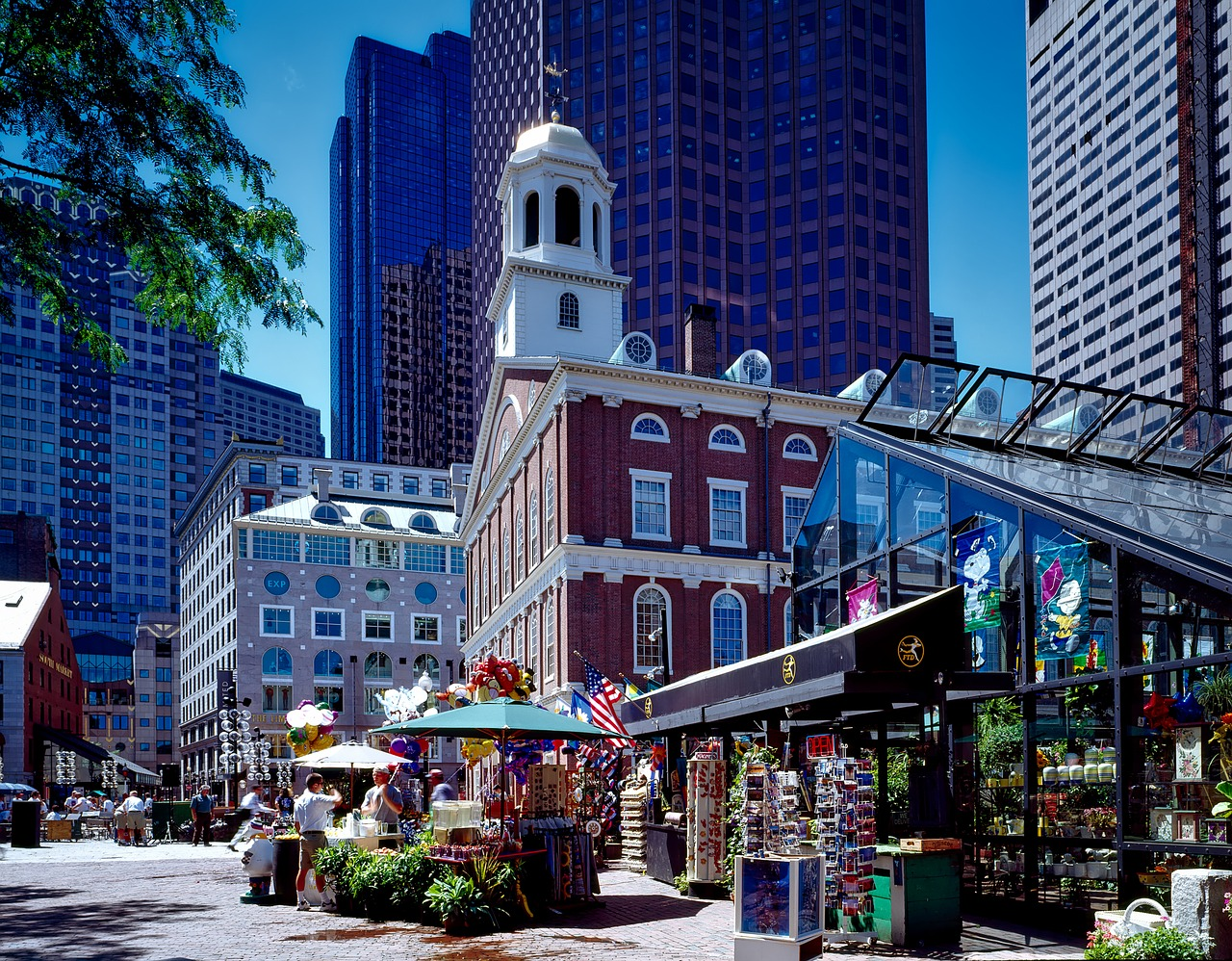 Faneuil Hall and Quincy Market on a walking tour of Boston landmarks