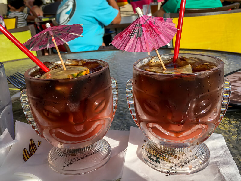 Umbrella drinks at Duke's Waikiki, a must for any first time visitor to Oahu