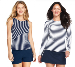 Lands End swim tops and rashguards can work as a top while traveling