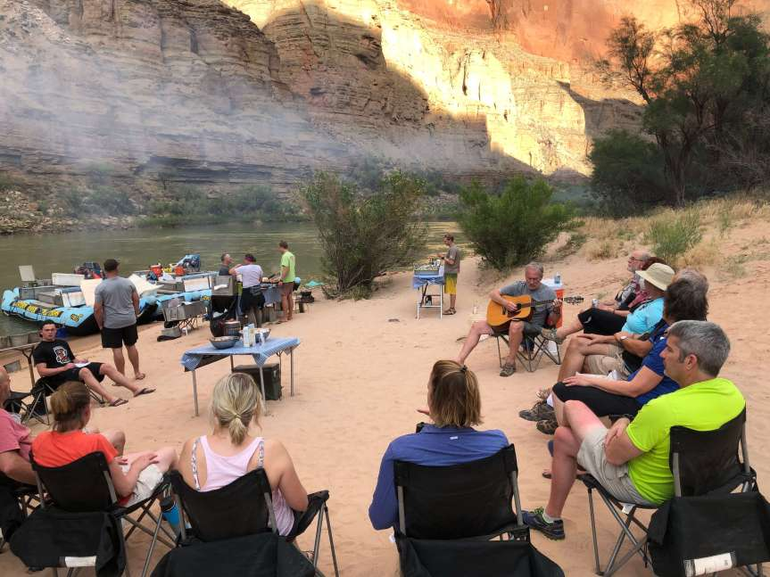 Storytelling travel adventures in the evening, rafting the Grand Canyon