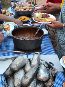 A dinner spread on our white water rafting adventure in the American Southwest