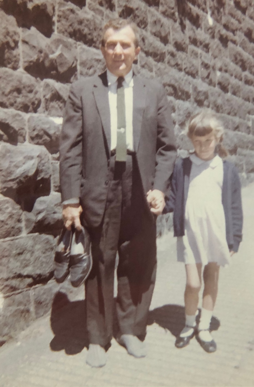 Though in a suit and tie, Dad took his shoes off while walking the steep hills of San Francisco!