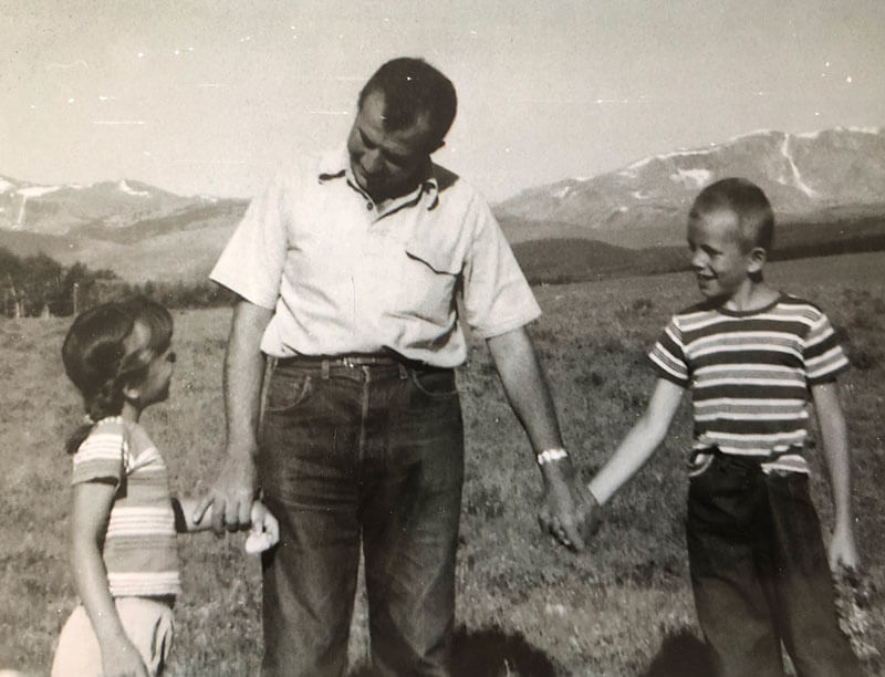 Author and Dad on our cross country trip 1960