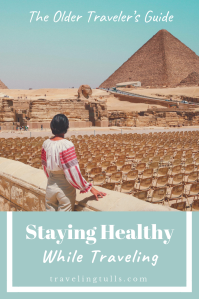 Guide to staying healthy while traveling. image of an older woman in Egypt.