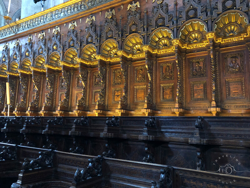 The wooden choir in Basilica dei Frari, away from the crowds in Venice