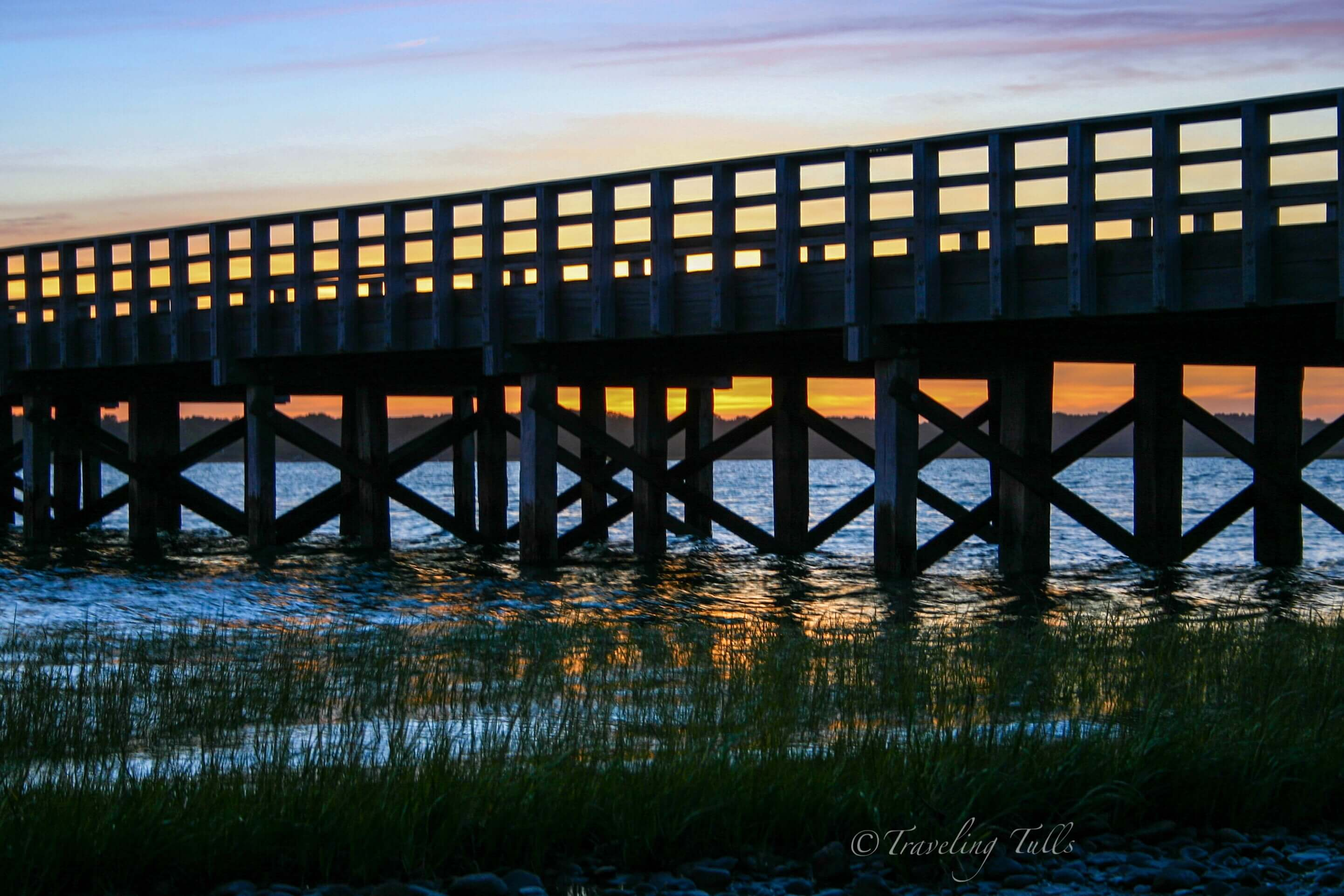 Powder Point bridge in Duxbury on a sunset bike ride