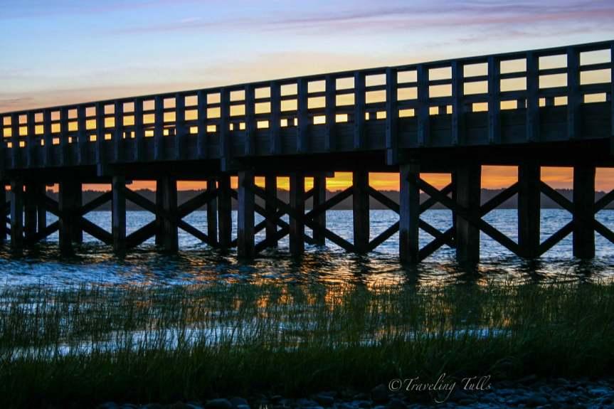 Powder Point bridge in Duxbury on a sunset bike ride