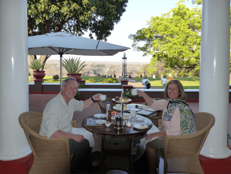 High tea at the Victoria Falls Hotel on our African Safari adventure