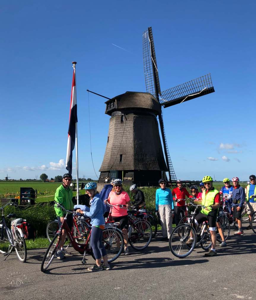 Bike and Barge Holland, the group stops at windmills everywhere!