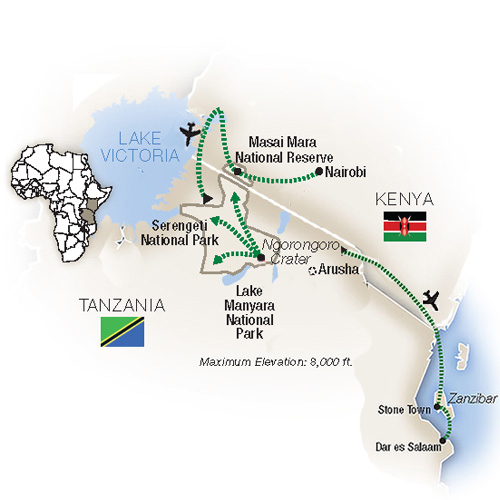 Itinerary for East Africa safari, Kenya, Tanzania, and Zanzibar