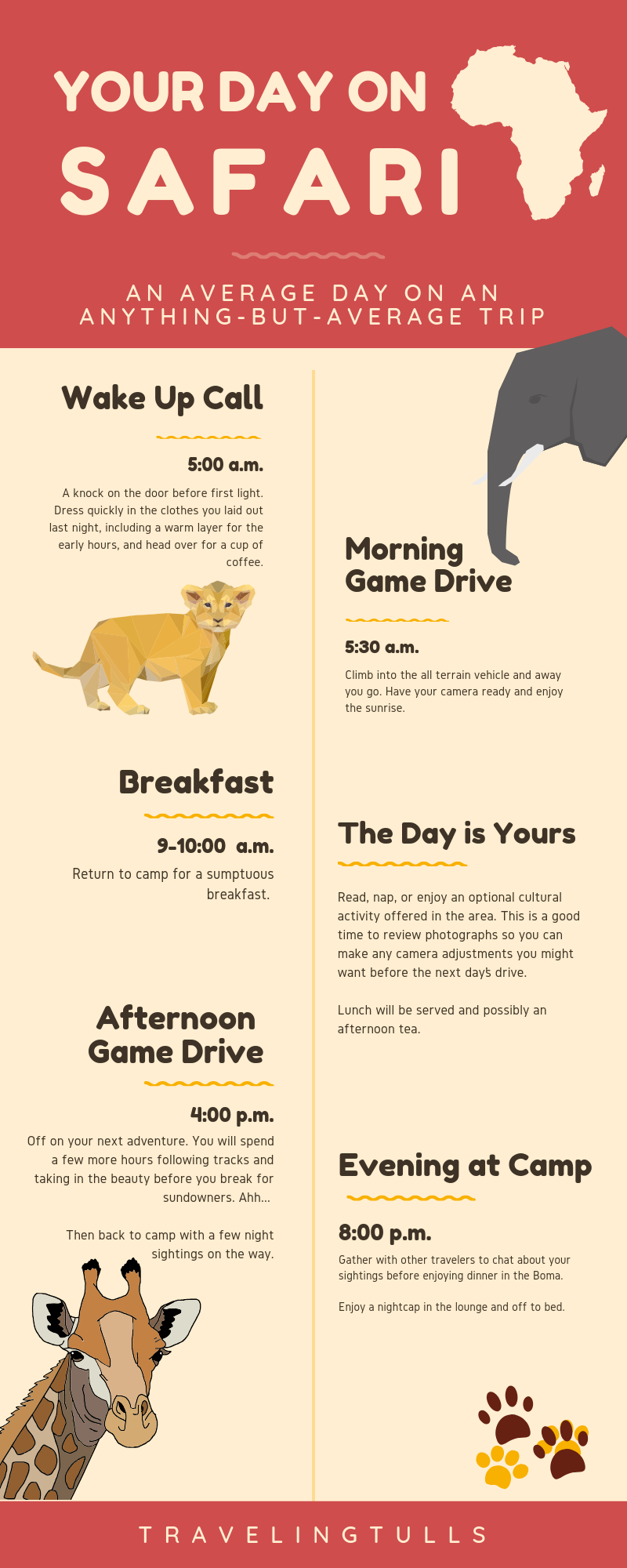 What to expect on an African safari, the daily schedule (infographic)