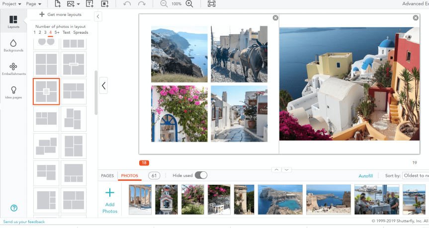 Shutterfly workspace for travel photo book