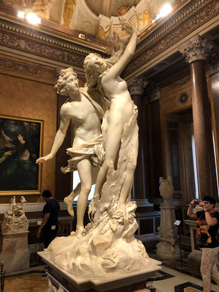 Bernini statue in Borghese gallery, Rome.
