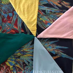 Diane Kroe fabric showing how it matches many colors