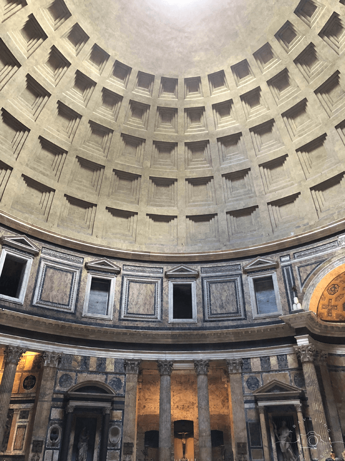 Interior of Pantheon in Rome. Exploring Rome on a self-guided Angels and Demons tour