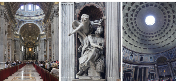 Iconic Rome images - St. Peter's, Bernini statue, Pantheon interior