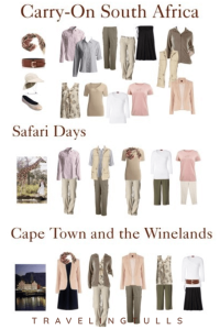 How to pack for a holiday in South Africa in a carry-on bag. Flatlay of womens packing list.