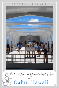 What to do on you first visit to Oahu. Image of the U.S.S. Arizona memorial in Pearl Harbor.