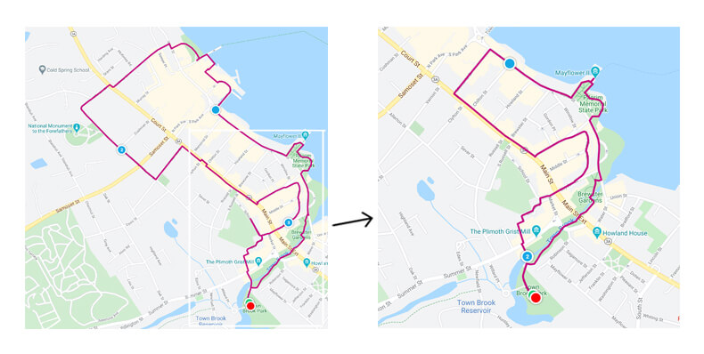 Map of walking routes in Plymouth