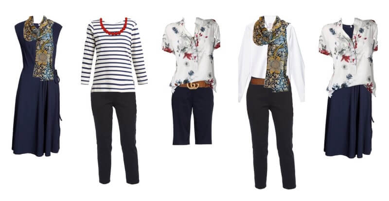 examples of options for a travel capsule wardrobe. Packing light for women in retirement.
