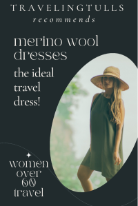 The best dresses for travel are lightweight, easy-care, and versatile. Choose merino wool for the ultimate travel dress. #travelstyle #traveldresses #merinowool ##womenoversixty