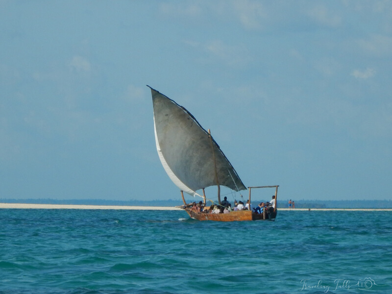 safari blue tour - a day on a dhow in the Indian Ocean of Zanzibar.