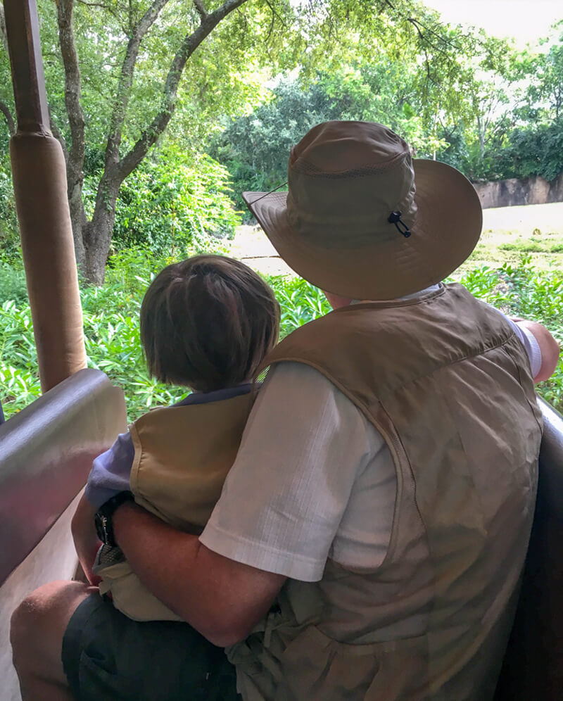 Grandparent and grandchild travel can be rewarding for all. Image of a child with grandfather on a game drive