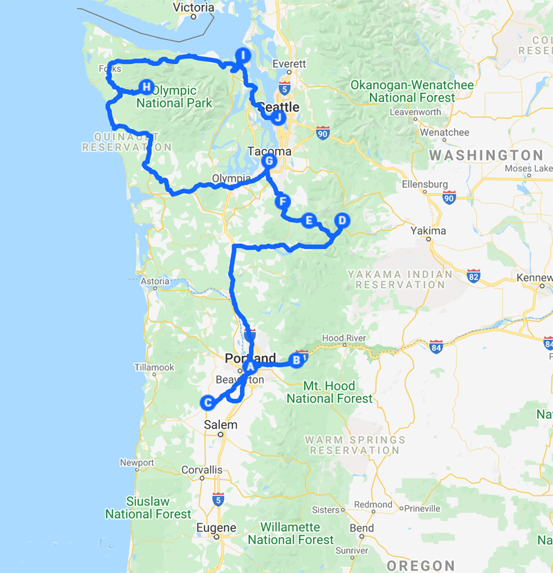 road trip map showing PNW itinerary