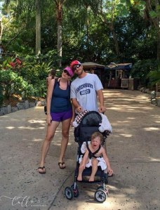 Tips to enjoy traveling with grandchildren - Don't overdo it! Image of a crying baby and exhausted parents